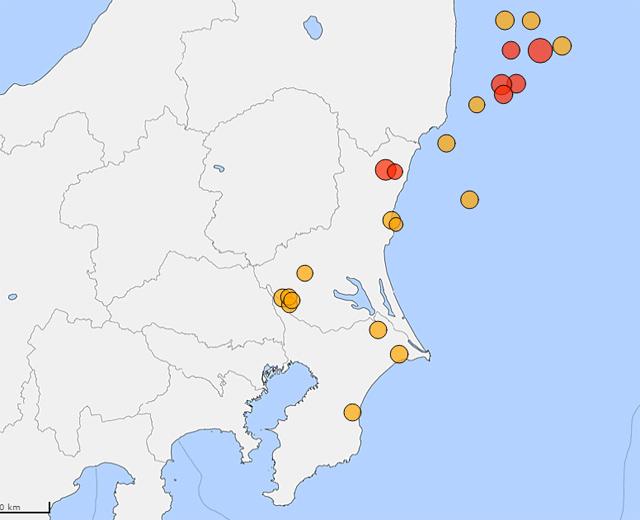 茨城県地震分布図