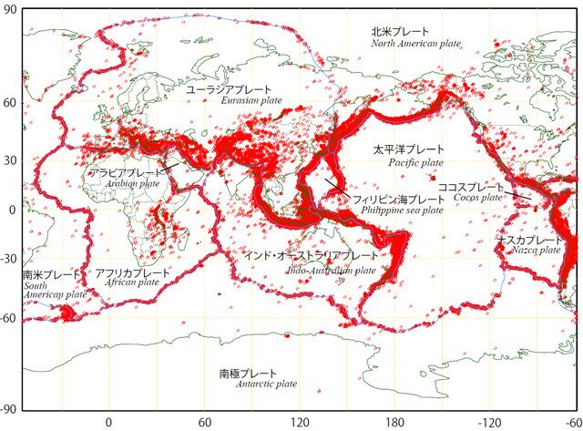 世界の主なプレートと地震の分布