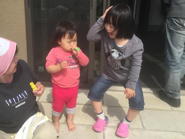 ダウン症優と翠しゃぼん玉07