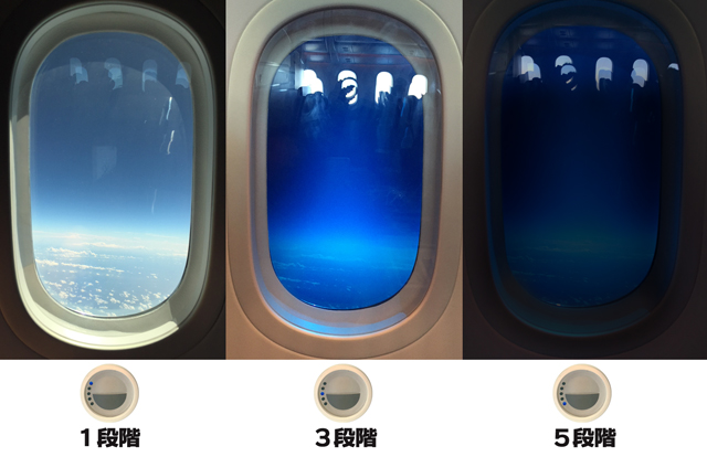 ボーイング787機の窓の明るさ調整