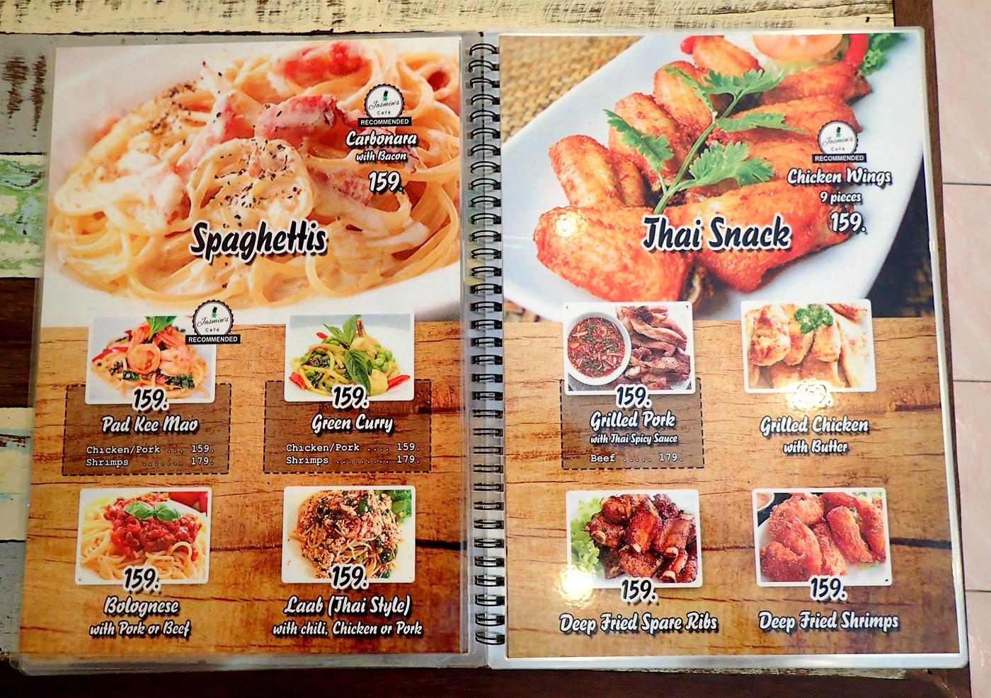 jasmins cafe menu