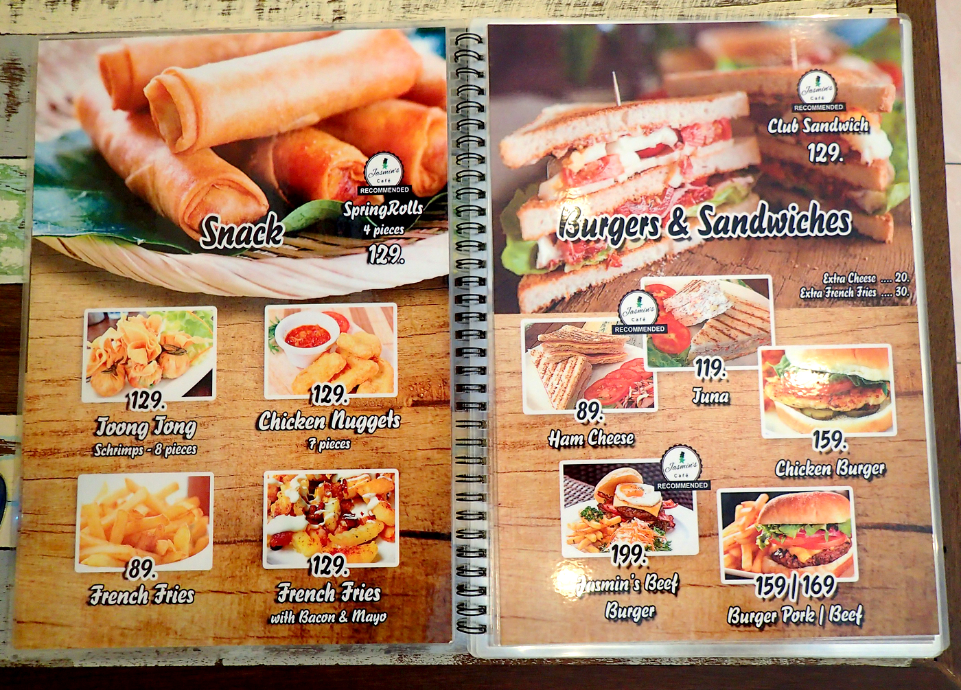 jasmins cafe menu book