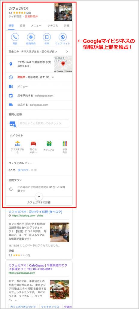 Googleマイビジネスに登録している店舗